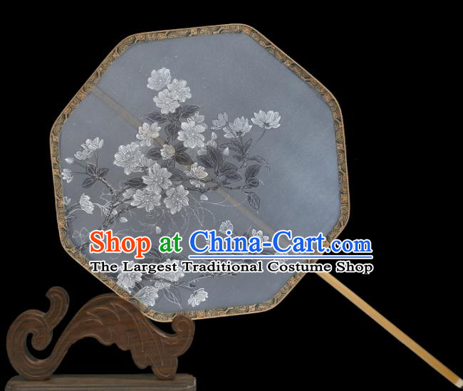Traditional Chinese Crafts Palace Fans Printing White Flowers Round Fans Ancient Silk Fan for Women