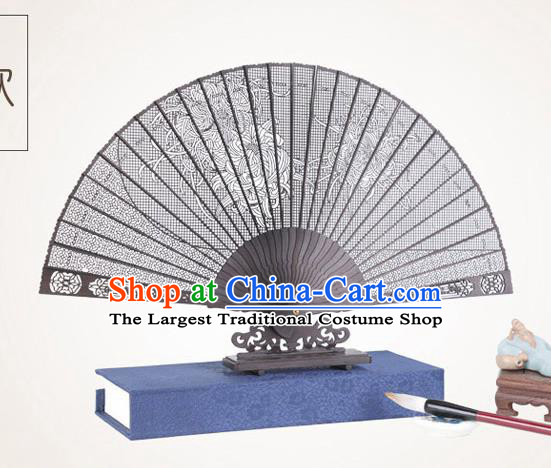 Chinese Traditional Crafts Sandalwood Folding Fans Pierced Chrysanthemum Fans Accordion Fan
