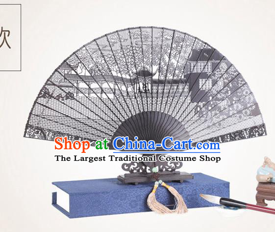 Chinese Traditional Crafts Sandalwood Folding Fans Pierced Suzhou Garden Fans Accordion Fan