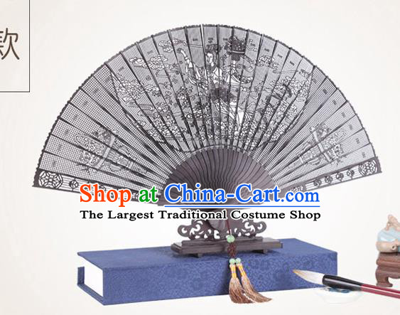 Chinese Traditional Crafts Sandalwood Folding Fans Pierced Peri Fans Accordion Fan