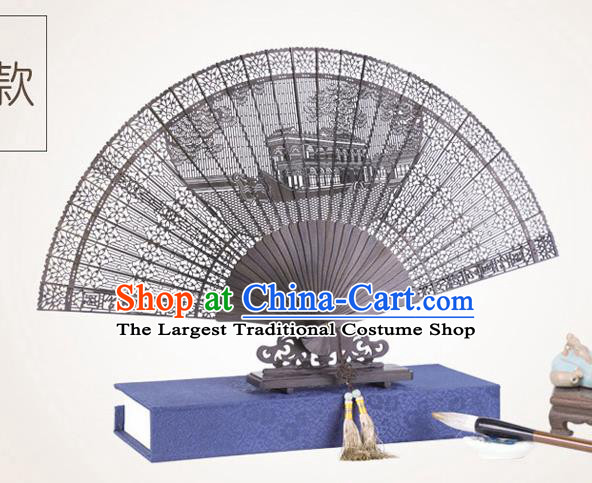 Chinese Traditional Crafts Sandalwood Folding Fans Pierced Summer Palace Fans Accordion Fan