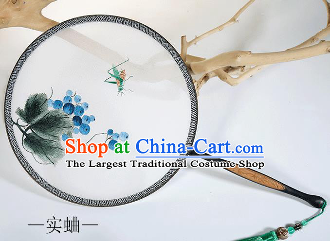 Traditional Chinese Crafts Palace Fans Embroidered Cricket Round Fans Ancient Silk Fan for Women