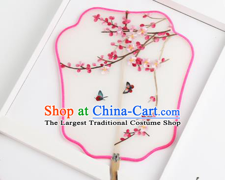 Traditional Chinese Crafts Palace Fans Silk Round Fans Ancient Princess Embroidered Plum Blossom Fan for Women