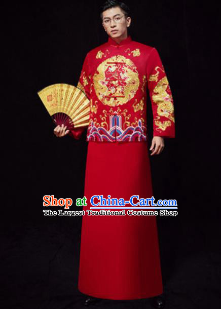 Chinese Traditional Wedding Embroidered Costumes Red Gown Ancient Bridegroom Toast Clothing for Men