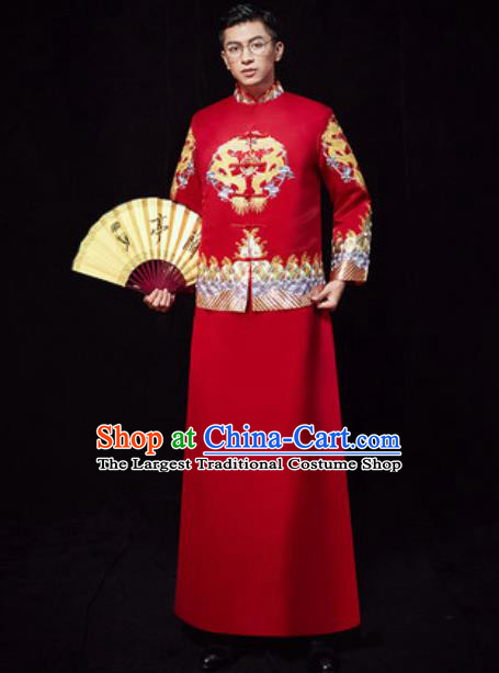 Chinese Traditional Wedding Embroidered Costumes Ancient Bridegroom Toast Clothing for Men