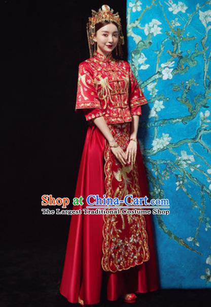 Traditional Chinese Wedding Embroidered Costumes Xiuhe Suits Ancient Bride Dress for Women