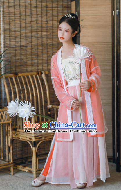 Chinese Ancient Nobility Lady Hanfu Dress Traditional Song Dynasty Embroidered Costumes for Women