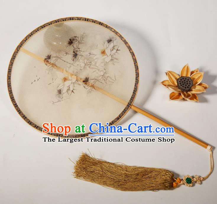 Chinese Traditional Hanfu Palace Fans Hand Painting Lotus Fans Ancient Silk Round Fan for Women