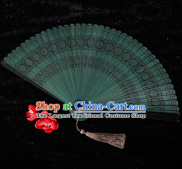 Chinese Traditional Crafts Green Bamboo Folding Fans Pierced Fans Accordion Fan
