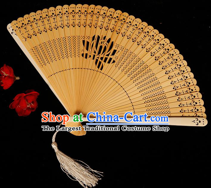 Chinese Traditional Crafts Bamboo Folding Fans Pierced Lotus Fans Accordion Fan
