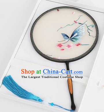 Chinese Traditional Palace Fans Embroidered Butterfly Round Fans Ancient Hanfu Silk Fan for Women