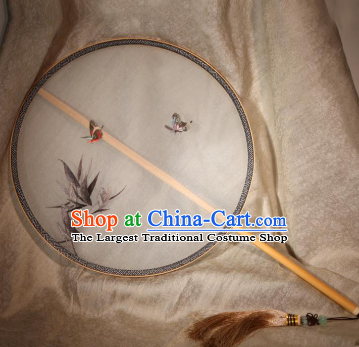 Chinese Ancient Traditional Palace Fans Hanfu Embroidered Bamboo Round Fans Silk Fan for Women