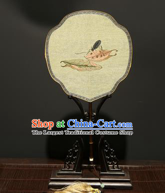 Chinese Ancient Princess Hanfu Palace Fan Traditional Weaving Leaf Pure Silk Round Fans for Women