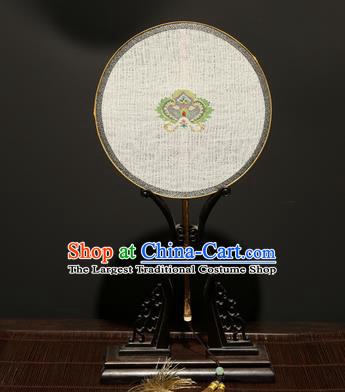 Chinese Ancient Princess Hanfu Palace Fan Traditional Weaving Pure Silk Round Fans for Women