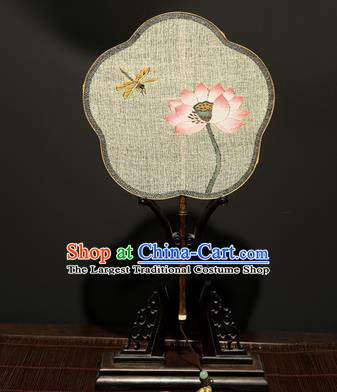 Chinese Ancient Princess Hanfu Palace Fan Traditional Weaving Lotus Pure Silk Round Fans for Women