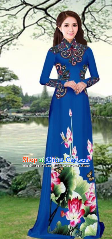Asian Traditional Vietnam Female Costume Vietnamese Printing Lotus Navy Cheongsam Ao Dai Qipao Dress for Women