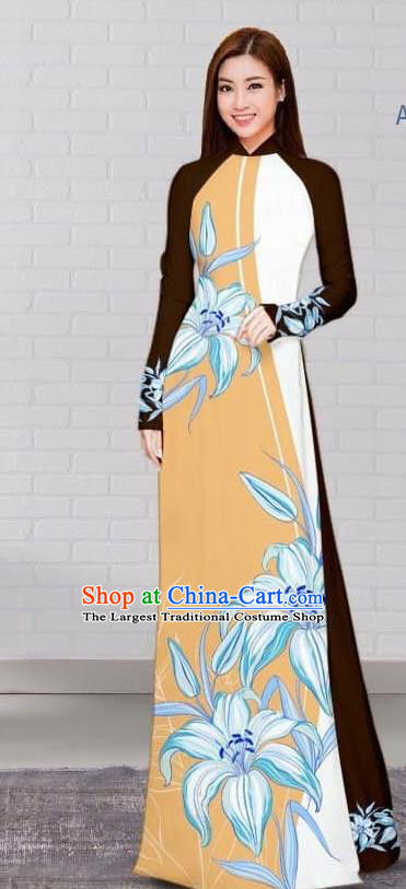 Asian Traditional Vietnam Costume Vietnamese Bride Khaki Cheongsam Ao Dai Qipao Dress for Women