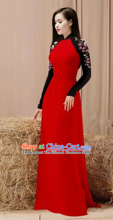 Vietnam Traditional Costume Red Ao Dai Qipao Dress Vietnamese Cheongsam for Women