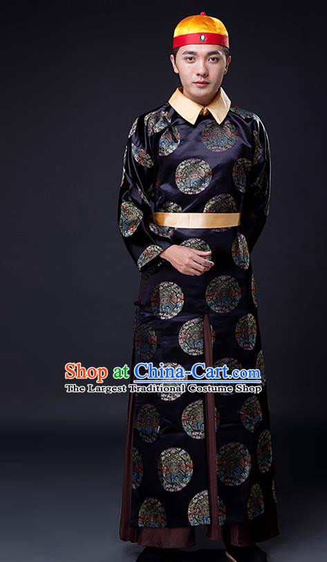Traditional Chinese Ancient Drama Costumes Qing Dynasty Manchu Emperor Clothing and Hat for Men