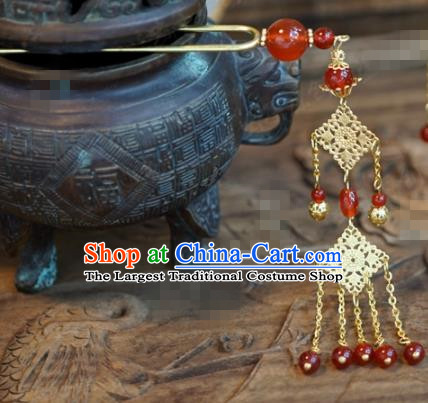 Chinese Ancient Wedding Hair Jewelry Accessories Palace Red Beads Tassel Step Shake Hairpins for Women