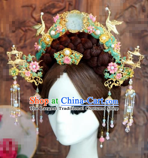 Chinese Ancient Hair Accessories Wedding Bride Hair Crown Hairpins Complete Set for Women