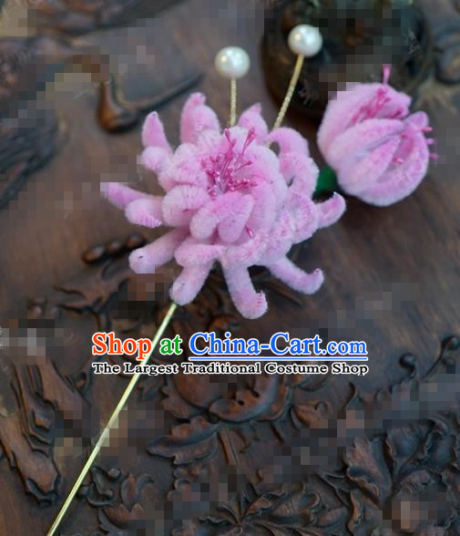 Chinese Ancient Qing Dynasty Empress Hair Clip Palace Pink Chrysanthemum Hairpins for Women