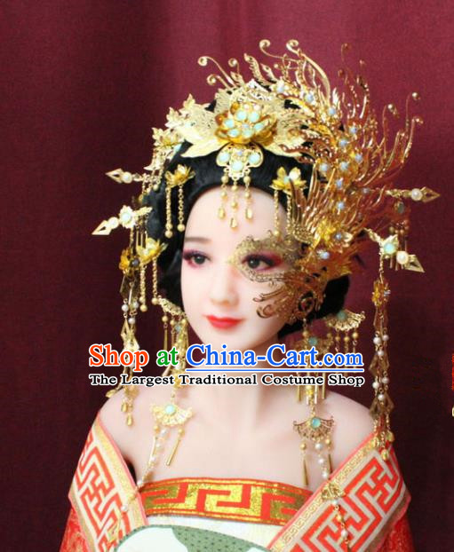 Chinese Ancient Tang Dynasty Hair Accessories Queen Mask Phoenix Coronet Hairpins Complete Set for Women