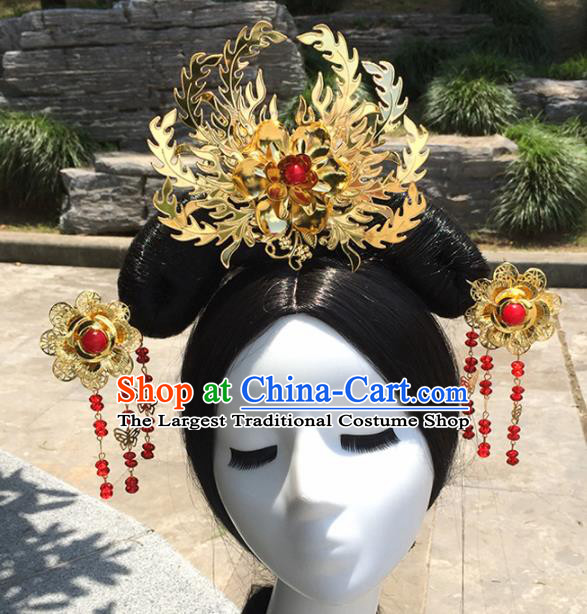 Chinese Ancient Tang Dynasty Queen Hair Accessories Golden Hairpins Phoenix Coronet for Women