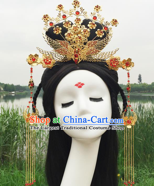 Chinese Ancient Tang Dynasty Princess Hair Accessories Golden Hairpins Phoenix Coronet for Women