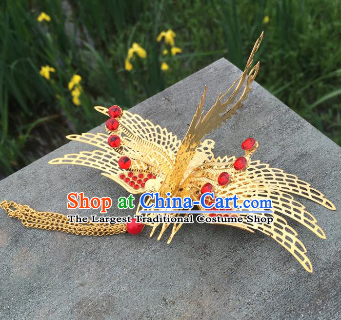 Chinese Ancient Tang Dynasty Princess Hair Accessories Golden Phoenix Hair Comb Hairpins for Women