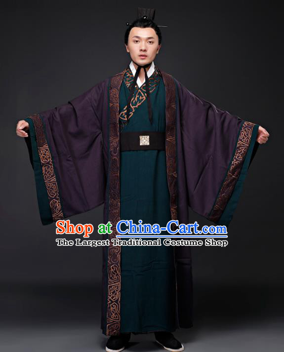 Chinese Ancient Drama Minister Clothing Traditional Han Dynasty Military Counsellor Embroidered Costumes for Men