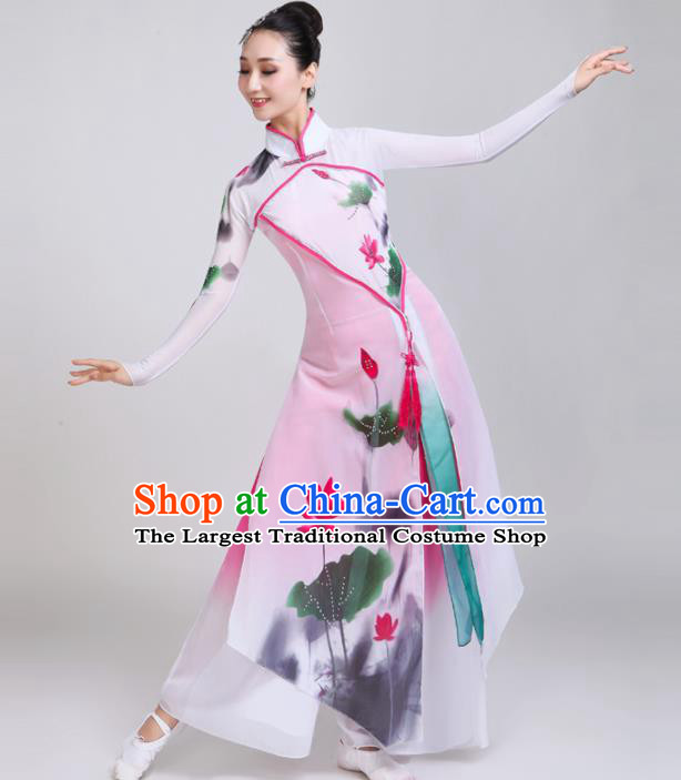 Chinese Traditional Folk Dance Costumes Classical Dance Lotus Dance White Dress for Women