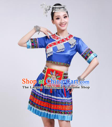 Chinese Zhuang Ethnic Minority Royalblue Embroidered Dress Traditional Nationality Folk Dance Costumes for Women