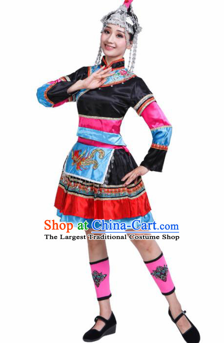 Chinese She Ethnic Minority Black Dress Traditional Nationality Folk Dance Costumes for Women