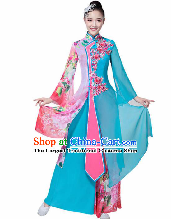 Chinese Traditional Folk Dance Costumes Classical Dance Umbrella Dance Blue Dress for Women