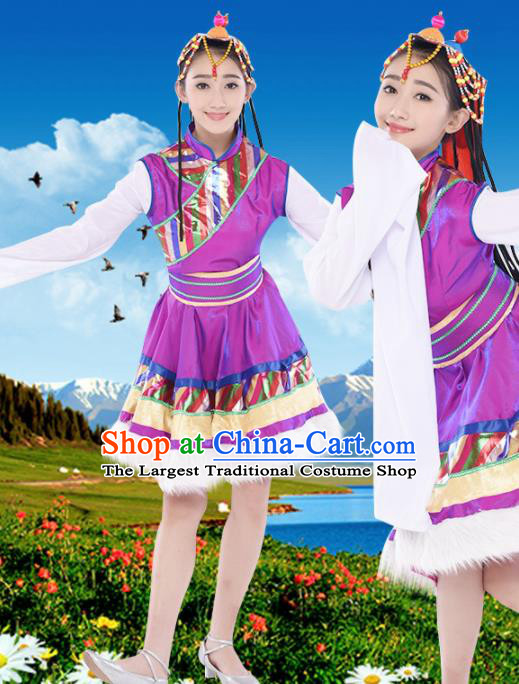 Chinese Traditional Zang Minority Purple Dress Tibetan Ethnic Folk Dance Costumes for Women