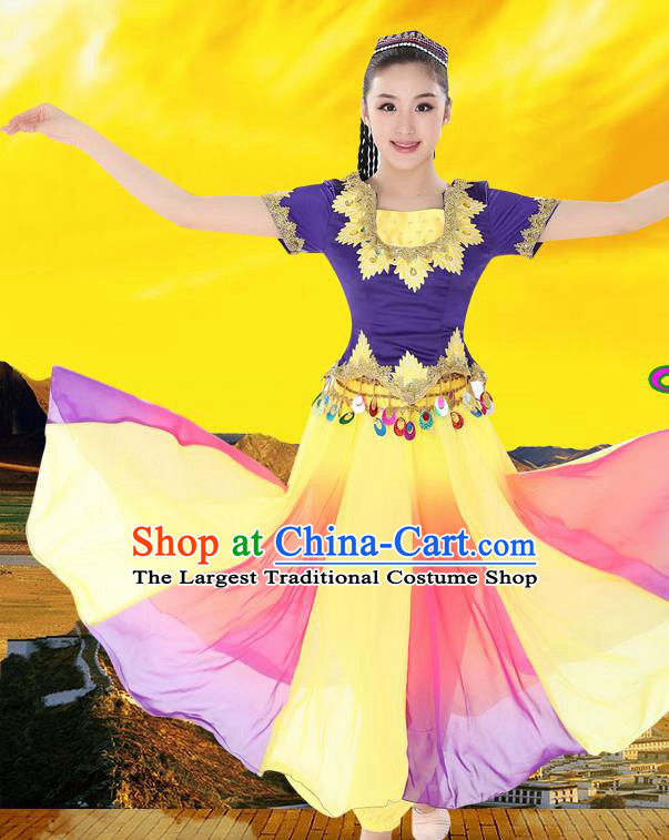 Chinese Traditional Uyghur Minority Dress Uigurian Ethnic Folk Dance Costumes for Women