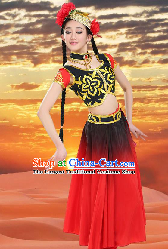 Chinese Traditional Uyghur Minority Red Dress Uigurian Ethnic Folk Dance Costumes for Women