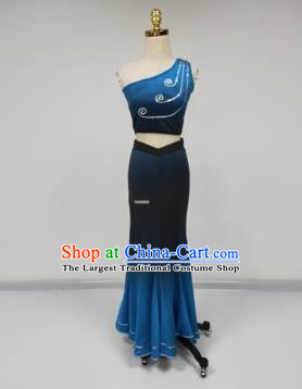 Chinese Traditional Dai Minority Blue Dress Ethnic Folk Dance Peacock Dance Costumes for Women
