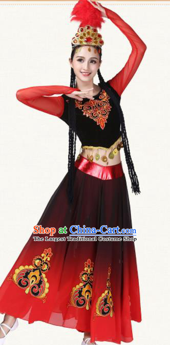 Chinese Traditional Uyghur Minority Dance Red Dress Ethnic Folk Dance Uigurian Costumes for Women