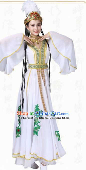 Chinese Traditional Uyghur Minority Dance White Dress Uigurian Ethnic Folk Dance Costumes for Women