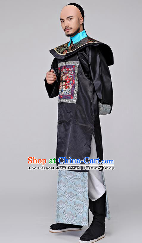 Traditional Chinese Qing Dynasty Drama Minister Costumes Ancient Chancellor Clothing for Men