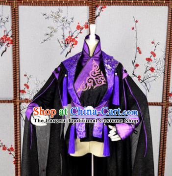 Traditional Chinese Cosplay Childe Embroidered Purple Costumes Ancient Swordsman Hanfu Clothing for Men