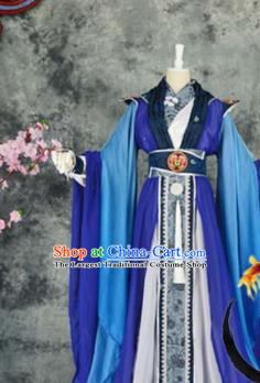 Traditional Chinese Cosplay Childe Blue Costumes Ancient Swordsman Hanfu Clothing for Men
