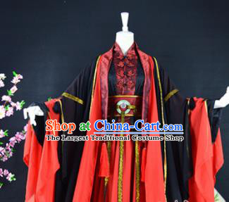 Traditional Chinese Cosplay Childe Costumes Ancient Swordsman Red Hanfu Clothing for Men