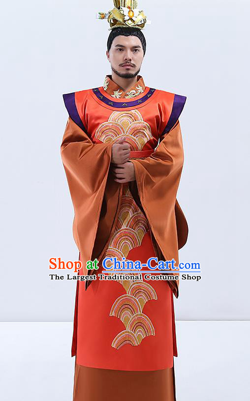 Traditional Chinese Tang Dynasty Emperor Costumes Ancient Drama Embroidered Imperial Robe for Men