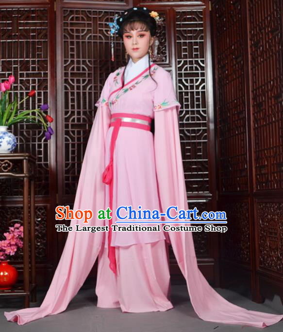 Traditional Chinese Beijing Opera Actress Costumes Ancient Palace Lady Pink Water Sleeve Dress for Adults