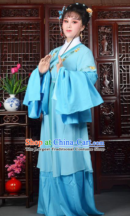 Traditional Chinese Beijing Opera Actress Costumes Ancient Palace Lady Blue Water Sleeve Dress for Adults