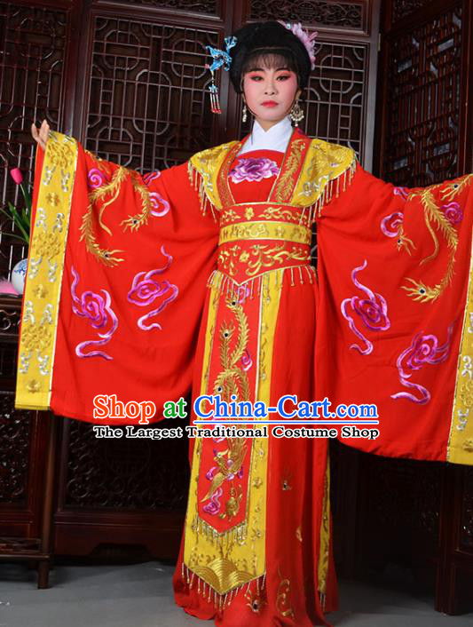 Traditional Chinese Peking Opera Empress Embroidered Costumes Ancient Queen Red Dress for Adults