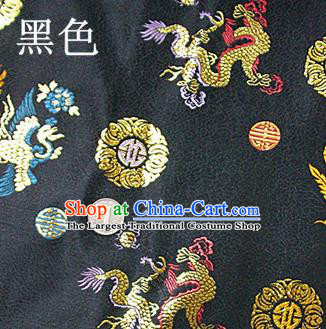 Traditional Chinese Royal Dragon Phoenix Pattern Black Brocade Tang Suit Fabric Silk Fabric Asian Material